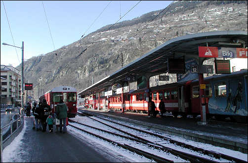 Outside track at Brig for train to Zermatt