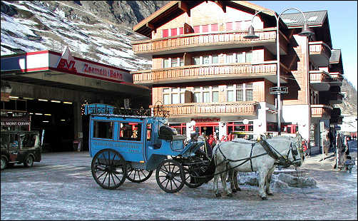 Transportation in Zermatt is by horse drawn carriage or electric buses
