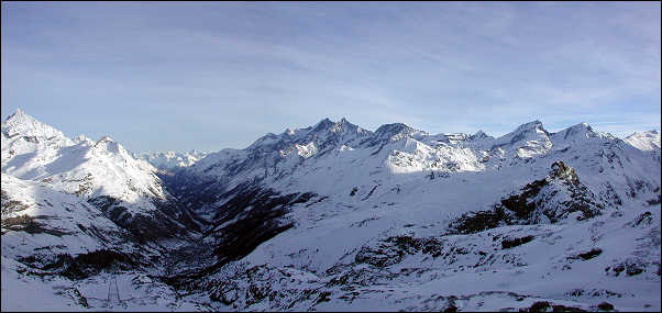 Panoramic view of mountains surrounding Zermatt